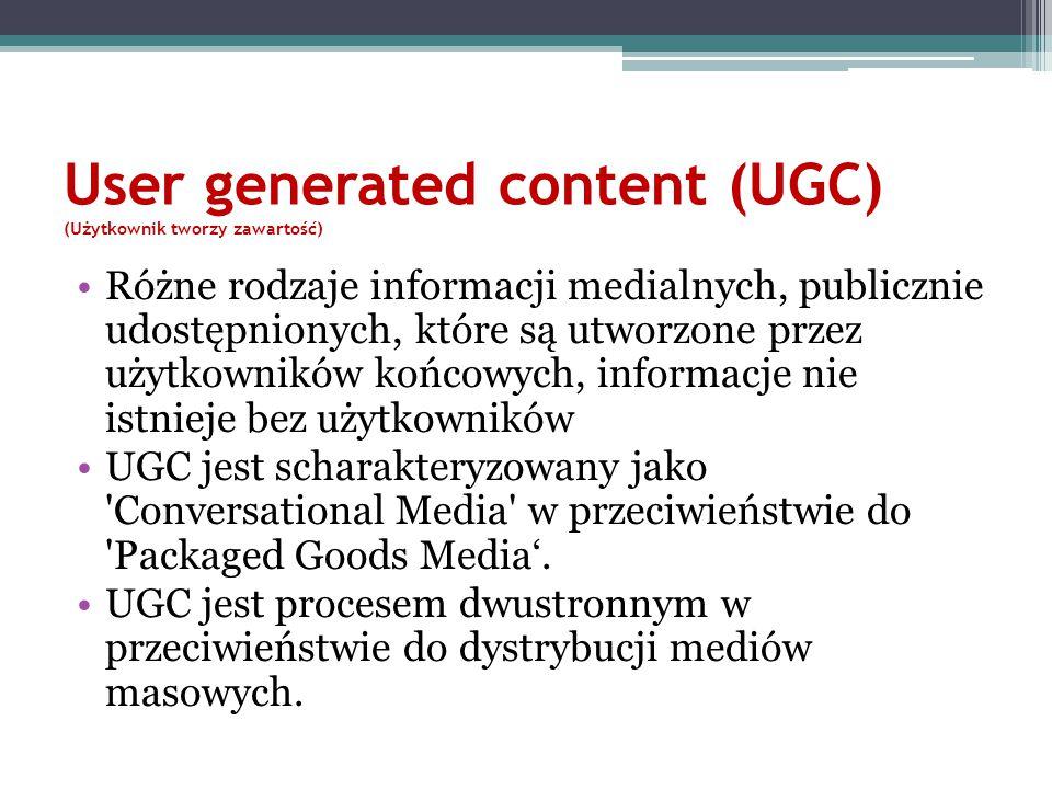 User generated content (UGC) (Użytkownik tworzy zawartość) Różne rodzaje informacji medialnych, publicznie udostępnionych, które są utworzone przez uż