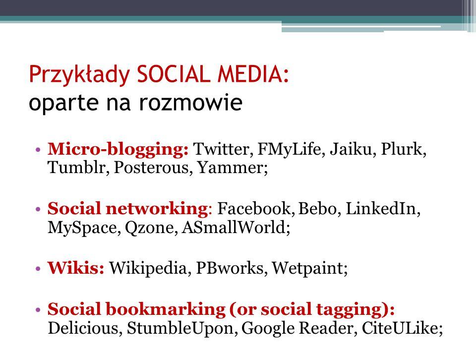 Przykłady SOCIAL MEDIA: oparte na rozmowie Micro-blogging: Twitter, FMyLife, Jaiku, Plurk, Tumblr, Posterous, Yammer; Social networking: Facebook, Beb