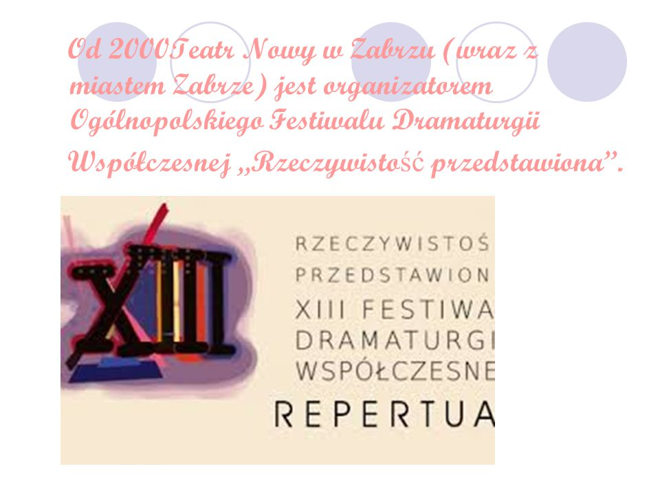 """Od 2000Teatr Nowy w Zabrzu (wraz z miastem Zabrze) jest organizatorem Ogólnopolskiego Festiwalu Dramaturgii Współczesnej """"Rzeczywisto ść przedstawiona''."""