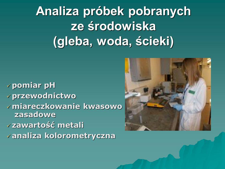 Analiza próbek pobranych ze środowiska (gleba, woda, ścieki) Analiza próbek pobranych ze środowiska (gleba, woda, ścieki) pomiar pH pomiar pH przewodnictwo przewodnictwo miareczkowanie kwasowo – zasadowe miareczkowanie kwasowo – zasadowe zawartość metali zawartość metali analiza kolorometryczna analiza kolorometryczna