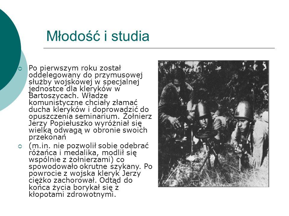 Młodość i studia  Po pierwszym roku został oddelegowany do przymusowej służby wojskowej w specjalnej jednostce dla kleryków w Bartoszycach. Władze ko