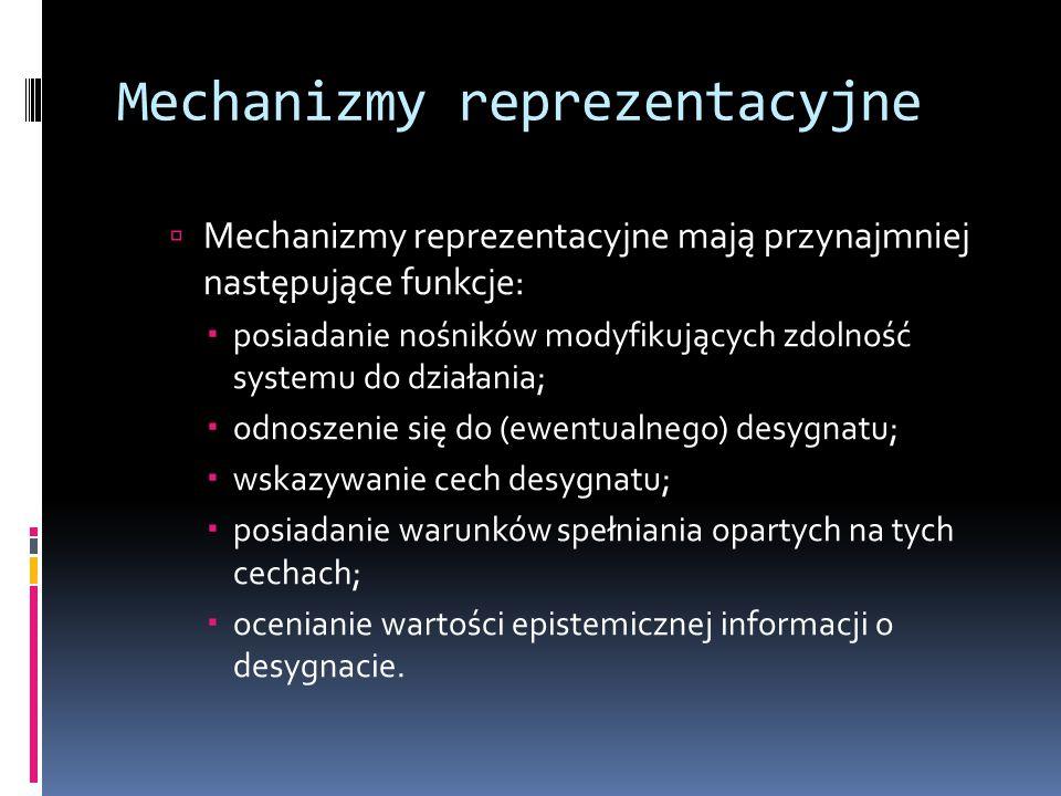 Mechanizmy reprezentacyjne  Mechanizmy reprezentacyjne mają przynajmniej następujące funkcje:  posiadanie nośników modyfikujących zdolność systemu d