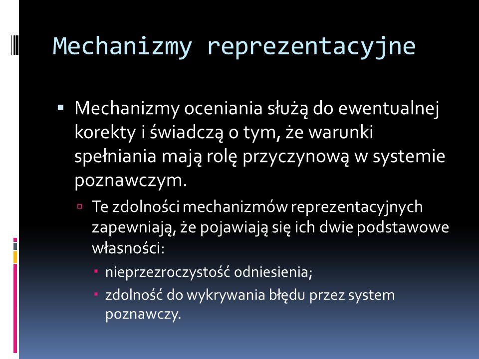 Mechanizmy reprezentacyjne  Mechanizmy oceniania służą do ewentualnej korekty i świadczą o tym, że warunki spełniania mają rolę przyczynową w systemi