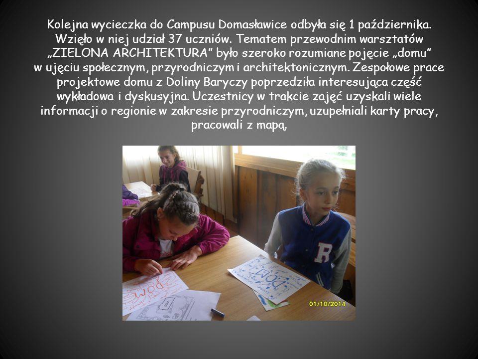 """Kolejna wycieczka do Campusu Domasławice odbyła się 1 października. Wzięło w niej udział 37 uczniów. Tematem przewodnim warsztatów """"ZIELONA ARCHITEKTU"""