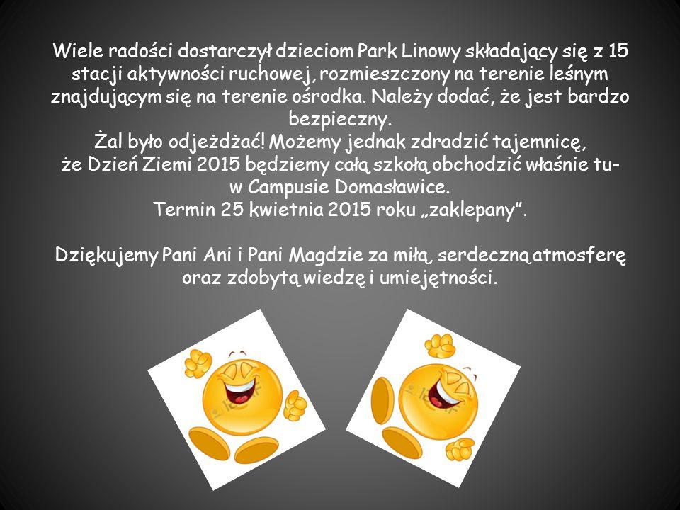 Wiele radości dostarczył dzieciom Park Linowy składający się z 15 stacji aktywności ruchowej, rozmieszczony na terenie leśnym znajdującym się na teren