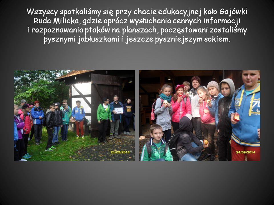 Wszyscy spotkaliśmy się przy chacie edukacyjnej koło Gajówki Ruda Milicka, gdzie oprócz wysłuchania cennych informacji i rozpoznawania ptaków na plans