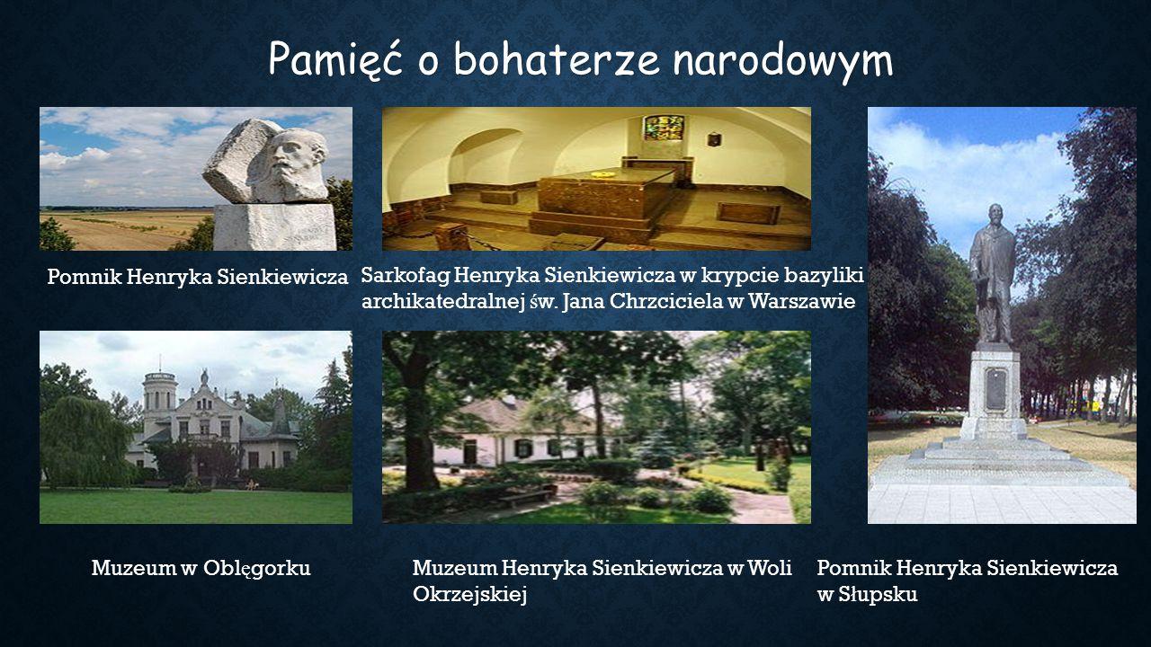 Pomnik Henryka Sienkiewicza Sarkofag Henryka Sienkiewicza w krypcie bazyliki archikatedralnej ś w. Jana Chrzciciela w Warszawie  Muzeum w Obl ę gorku