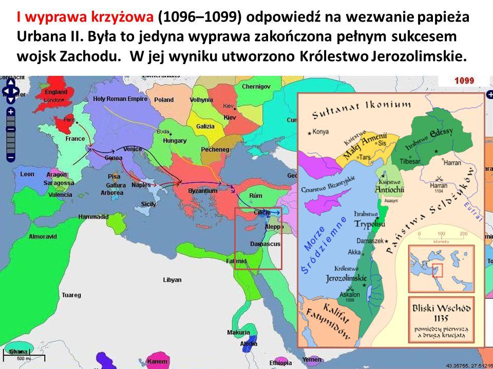 I wyprawa krzyżowa (1096–1099) odpowiedź na wezwanie papieża Urbana II. Była to jedyna wyprawa zakończona pełnym sukcesem wojsk Zachodu. W jej wyniku