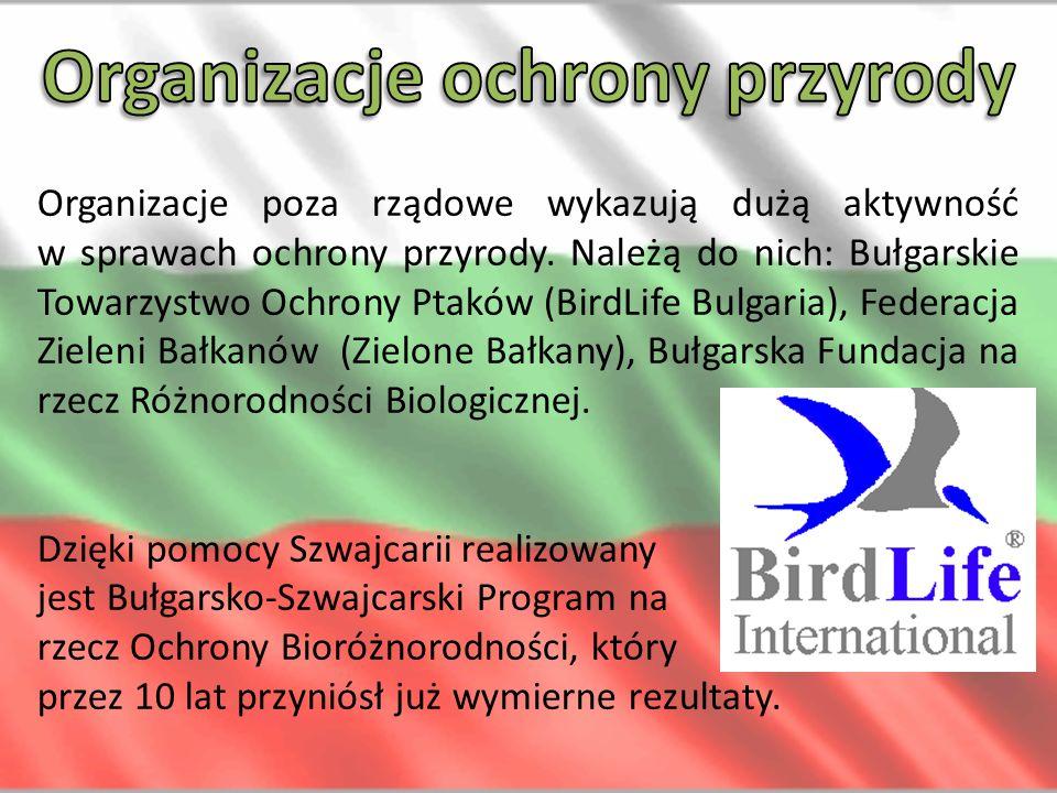 Organizacje poza rządowe wykazują dużą aktywność w sprawach ochrony przyrody. Należą do nich: Bułgarskie Towarzystwo Ochrony Ptaków (BirdLife Bulgaria