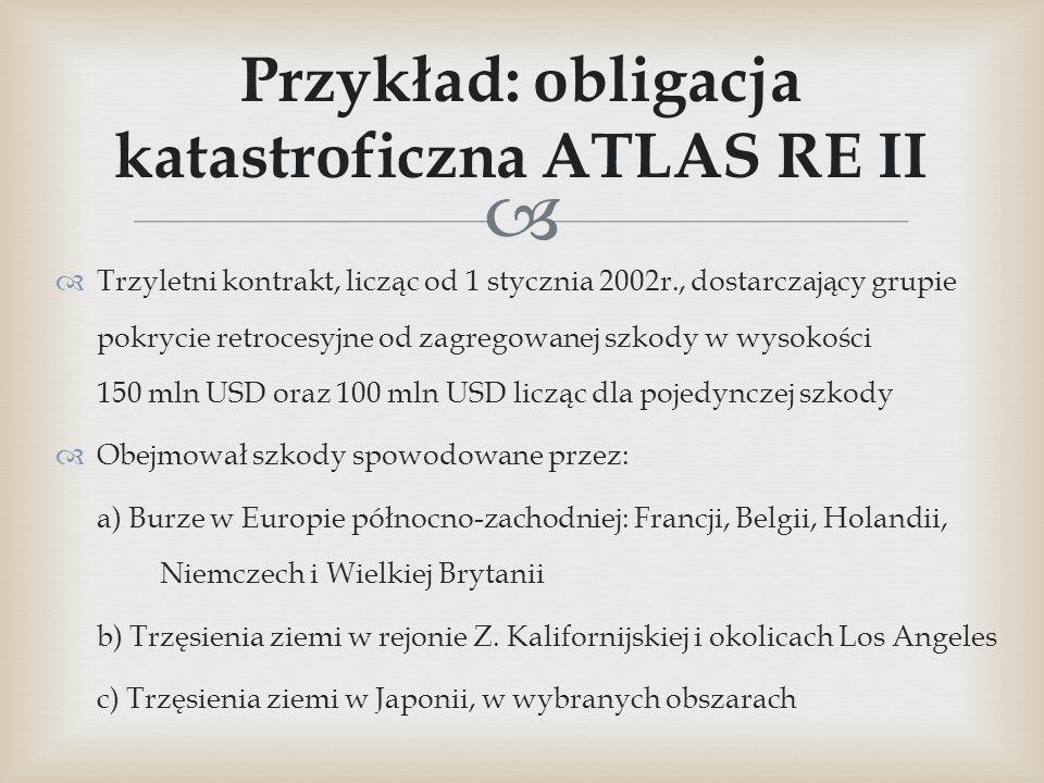   Trzyletni kontrakt, licząc od 1 stycznia 2002r., dostarczający grupie pokrycie retrocesyjne od zagregowanej szkody w wysokości 150 mln USD oraz 10