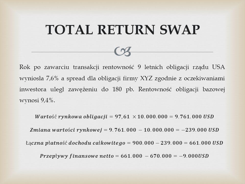  TOTAL RETURN SWAP Rok po zawarciu transakcji rentowność 9 letnich obligacji rządu USA wyniosła 7,6% a spread dla obligacji firmy XYZ zgodnie z oczek