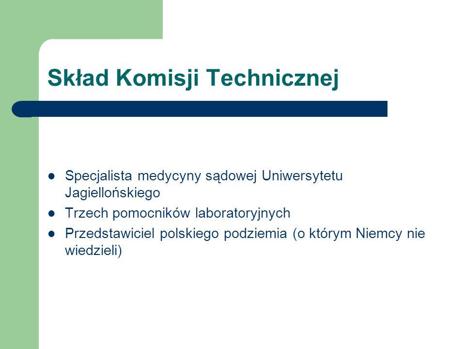 Skład Komisji Technicznej Specjalista medycyny sądowej Uniwersytetu Jagiellońskiego Trzech pomocników laboratoryjnych Przedstawiciel polskiego podziem