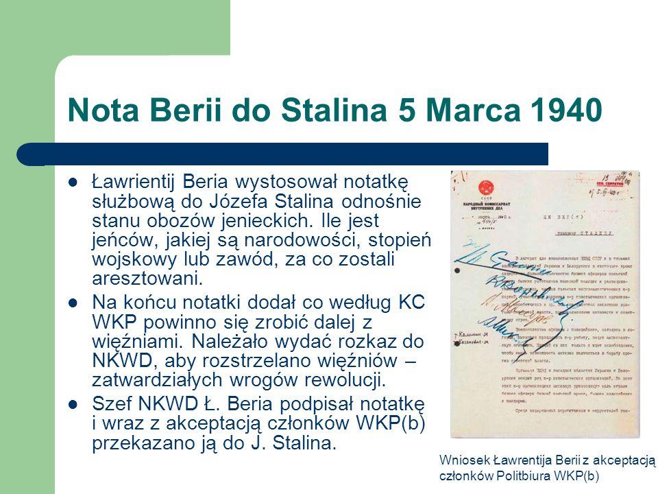 Nota Berii do Stalina 5 Marca 1940 Ławrientij Beria wystosował notatkę służbową do Józefa Stalina odnośnie stanu obozów jenieckich. Ile jest jeńców, j