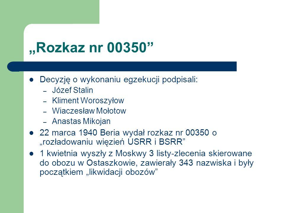 """""""Rozkaz nr 00350"""" Decyzję o wykonaniu egzekucji podpisali: – Józef Stalin – Kliment Woroszyłow – Wiaczesław Mołotow – Anastas Mikojan 22 marca 1940 Be"""