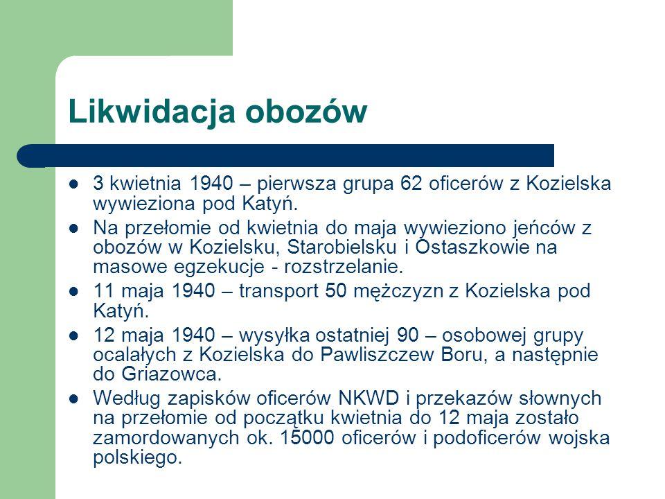 Likwidacja obozów 3 kwietnia 1940 – pierwsza grupa 62 oficerów z Kozielska wywieziona pod Katyń. Na przełomie od kwietnia do maja wywieziono jeńców z