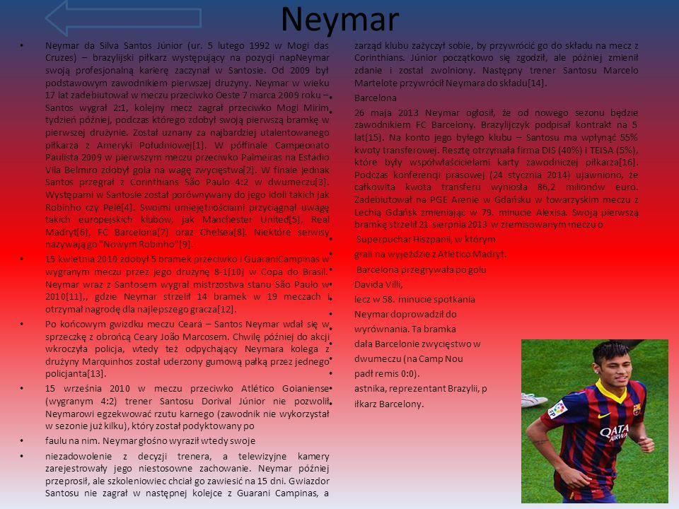 Zawodnicy Neymar Messi Iniesta Alves Rakitić inne Alba Munir Mathieu Rodriguez Mascherano pique Busquets Hernandez Suarez Dawni zawodnicy KLIKNIJ NA ZAWODNIKA ABY SIĘ CZEGOŚ O NIM DOWIEDZIEĆ