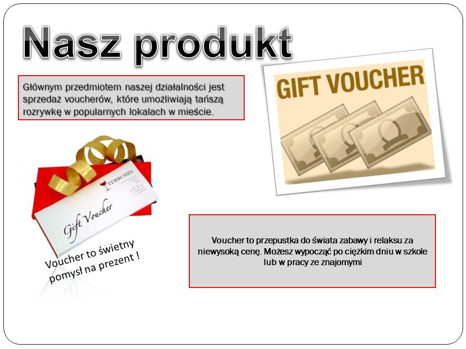 Głównym przedmiotem naszej działalności jest sprzedaż voucherów, które umożliwiają tańszą rozrywkę w popularnych lokalach w mieście. Voucher to przepu