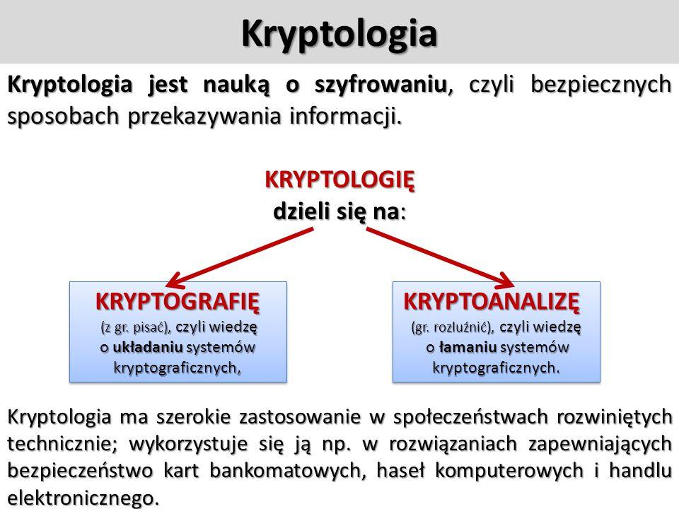 Pojęcia związane z szyfrowaniem  kryptografia (szyfrowanie)  kryptoanaliza (rozszyfrowywanie)  kryptologia = kryptografia + kryptoanaliza  klucz t