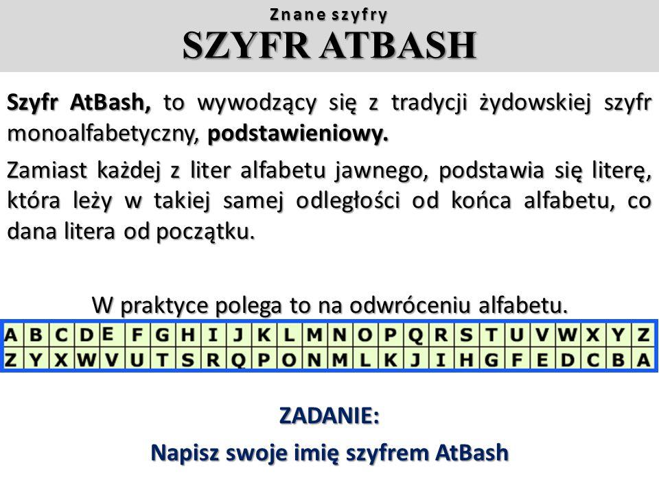 Alfabet:Szyfr:Ćwiczenie: Zaszyfruj wiadomość według powyższego kodu (należy każdą jej literę zastąpić odpowiednikiem z szyfru). Tekst jawny: Tekst jaw