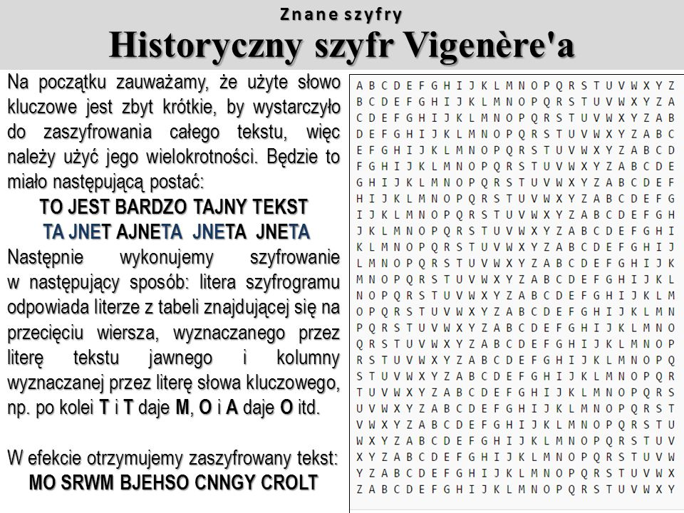 Działanie szyfru Vigenere'a oparte jest na następującej tablicy: Znane szyfry Szyfr Vigenère'a Każdy z wierszy tablicy odpowiada szyfrowi Cezara, przy
