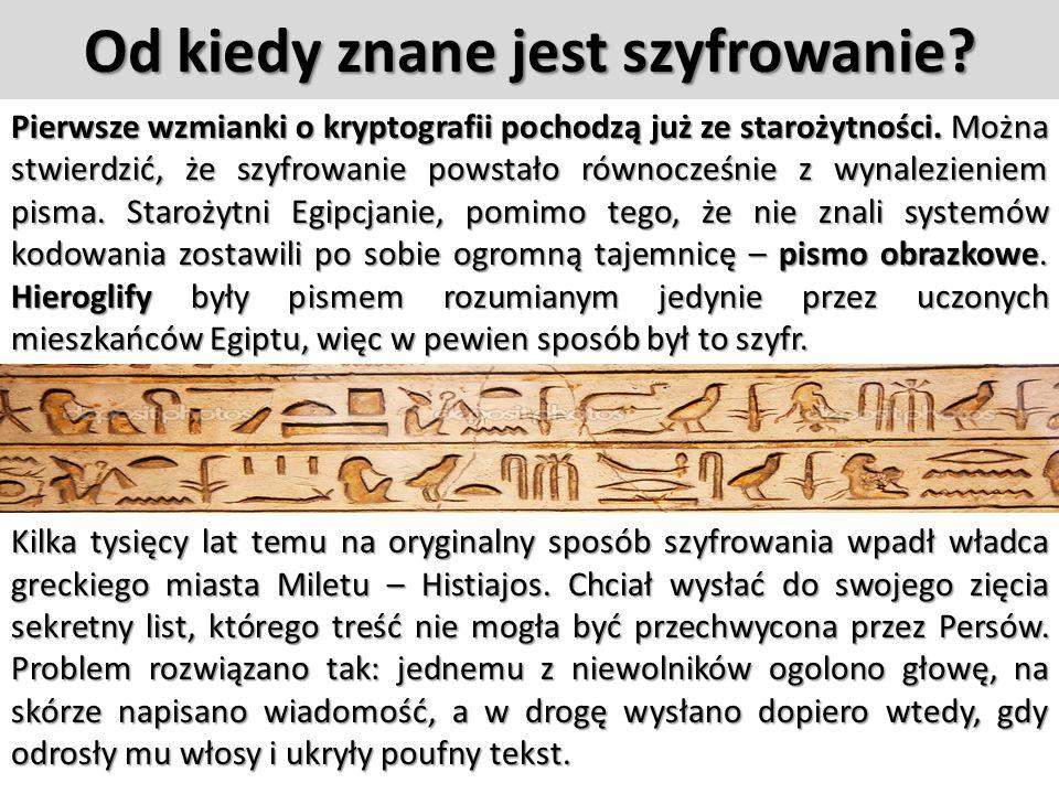 Od kiedy znane jest szyfrowanie.Pierwsze wzmianki o kryptografii pochodzą już ze starożytności.