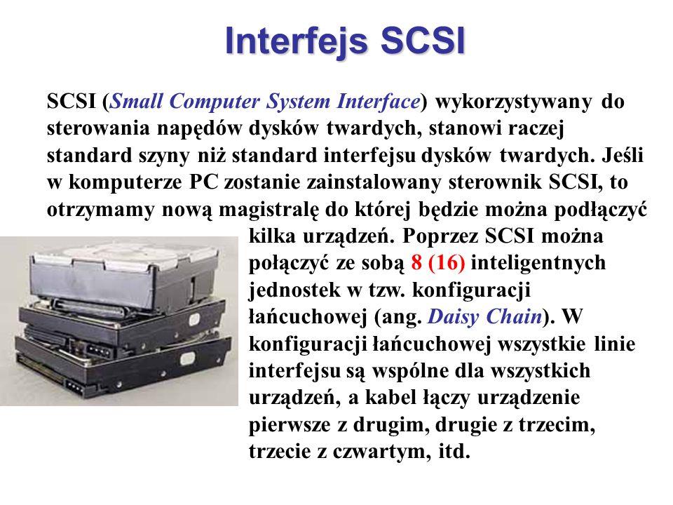 Interfejs SCSI SCSI (Small Computer System Interface) wykorzystywany do sterowania napędów dysków twardych, stanowi raczej standard szyny niż standard