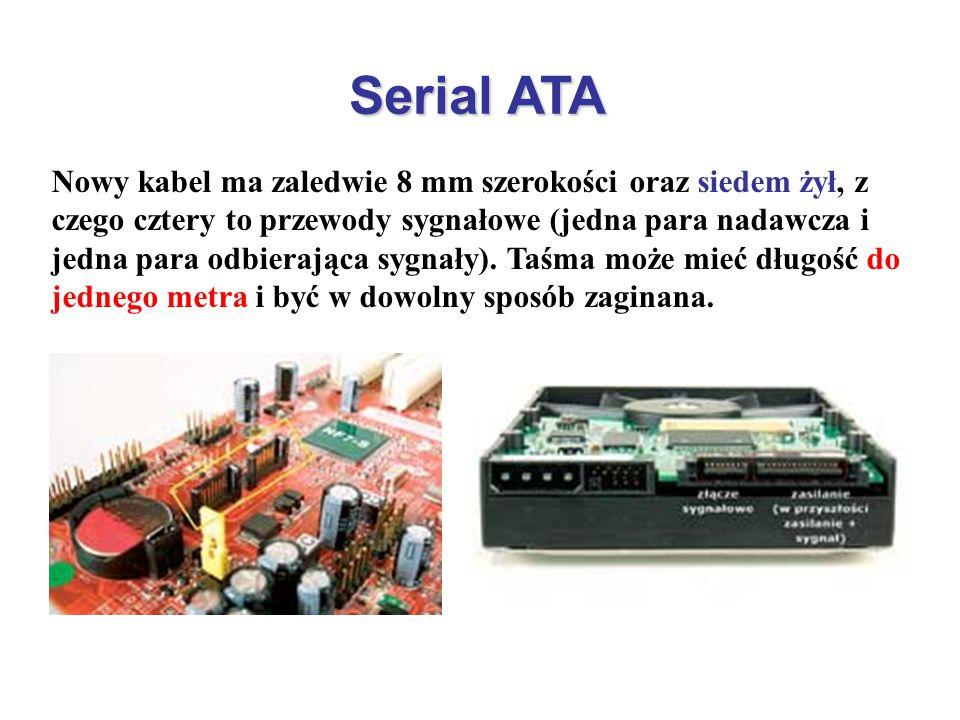 Serial ATA Nowy kabel ma zaledwie 8 mm szerokości oraz siedem żył, z czego cztery to przewody sygnałowe (jedna para nadawcza i jedna para odbierająca