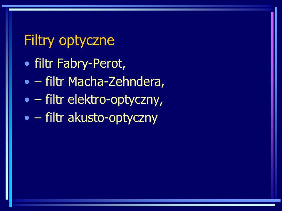 Filtry optyczne filtr Fabry-Perot, – filtr Macha-Zehndera, – filtr elektro-optyczny, – filtr akusto-optyczny