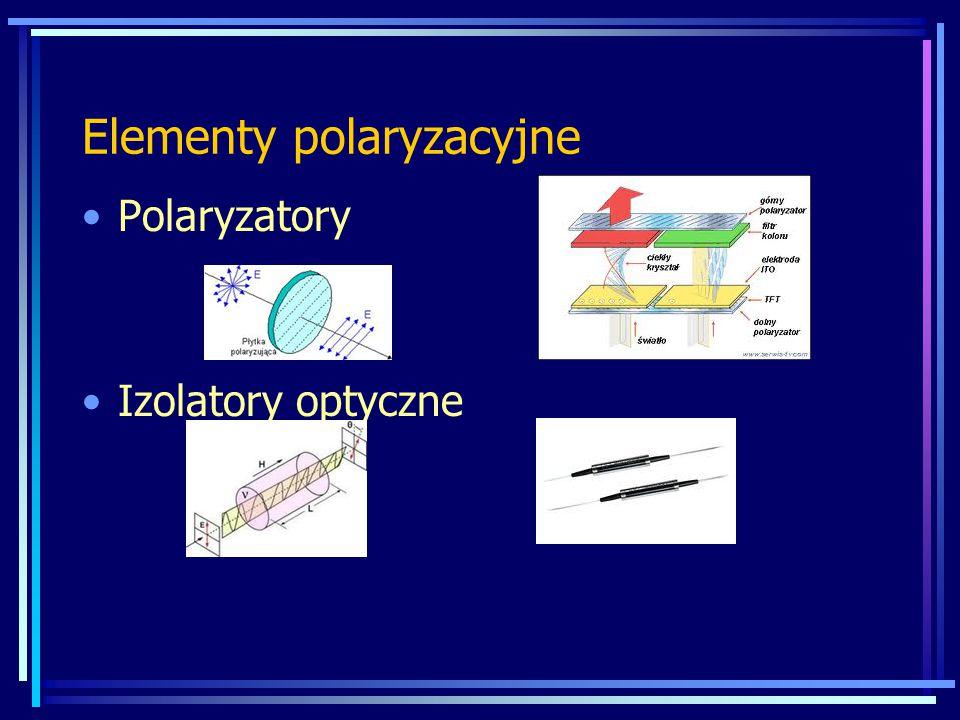 Elementy polaryzacyjne Polaryzatory Izolatory optyczne