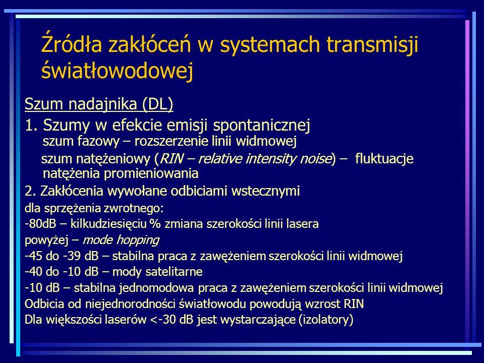 Źródła zakłóceń w systemach transmisji światłowodowej Szum nadajnika (DL) 1. Szumy w efekcie emisji spontanicznej szum fazowy – rozszerzenie linii wid
