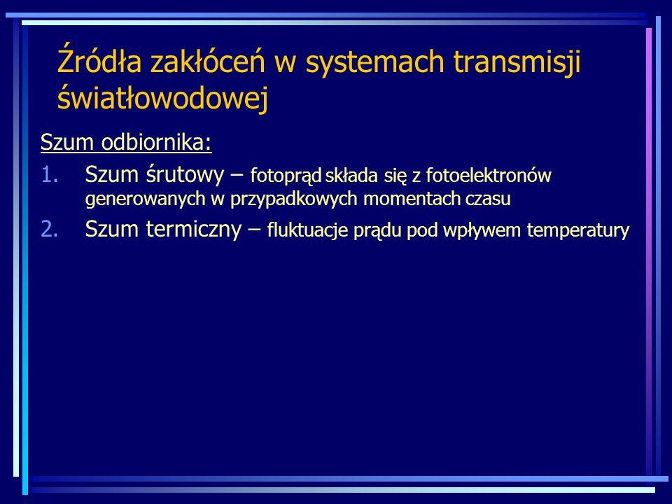 Szum odbiornika: 1.Szum śrutowy – fotoprąd składa się z fotoelektronów generowanych w przypadkowych momentach czasu 2.Szum termiczny – fluktuacje prąd