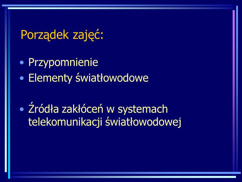 Porządek zajęć: Przypomnienie Elementy światłowodowe Źródła zakłóceń w systemach telekomunikacji światłowodowej