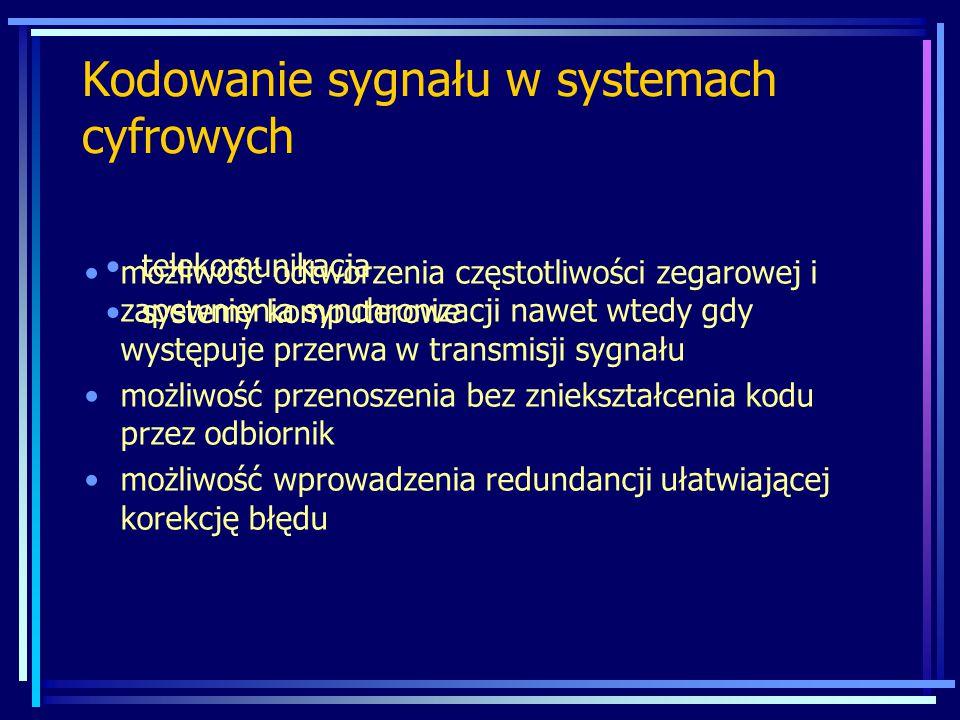 Kodowanie sygnału w systemach cyfrowych możliwość odtworzenia częstotliwości zegarowej i zapewnienia synchronizacji nawet wtedy gdy występuje przerwa