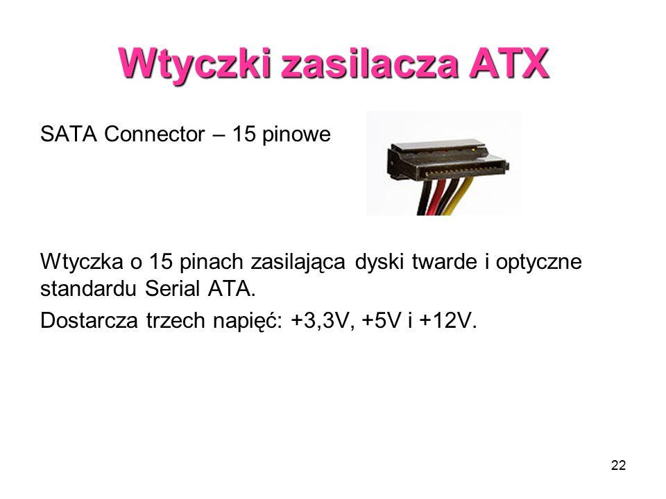 22 Wtyczki zasilacza ATX SATA Connector – 15 pinowe Wtyczka o 15 pinach zasilająca dyski twarde i optyczne standardu Serial ATA. Dostarcza trzech napi