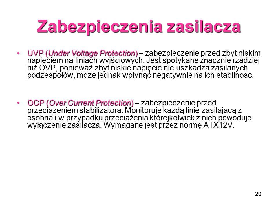 29 Zabezpieczenia zasilacza UVP (Under Voltage Protection)UVP (Under Voltage Protection) – zabezpieczenie przed zbyt niskim napięciem na liniach wyjściowych.