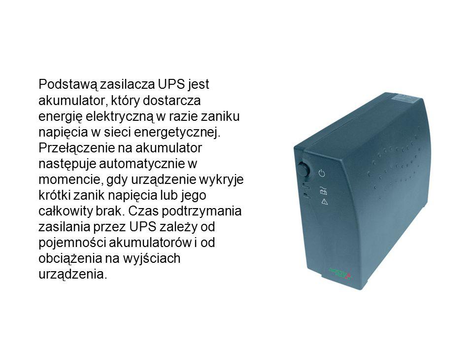 Podstawą zasilacza UPS jest akumulator, który dostarcza energię elektryczną w razie zaniku napięcia w sieci energetycznej. Przełączenie na akumulator