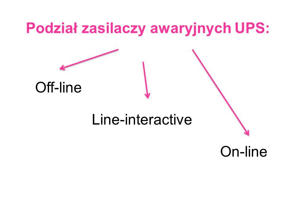 Podział zasilaczy awaryjnych UPS: On-line Line-interactive Off-line