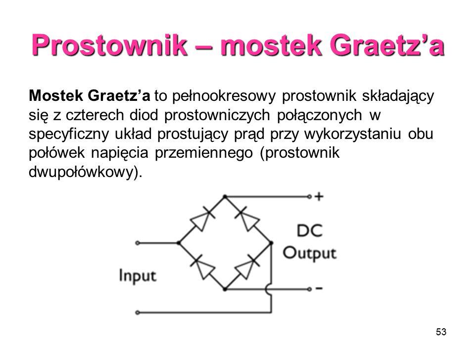 53 Prostownik – mostek Graetz'a Mostek Graetz'a to pełnookresowy prostownik składający się z czterech diod prostowniczych połączonych w specyficzny układ prostujący prąd przy wykorzystaniu obu połówek napięcia przemiennego (prostownik dwupołówkowy).