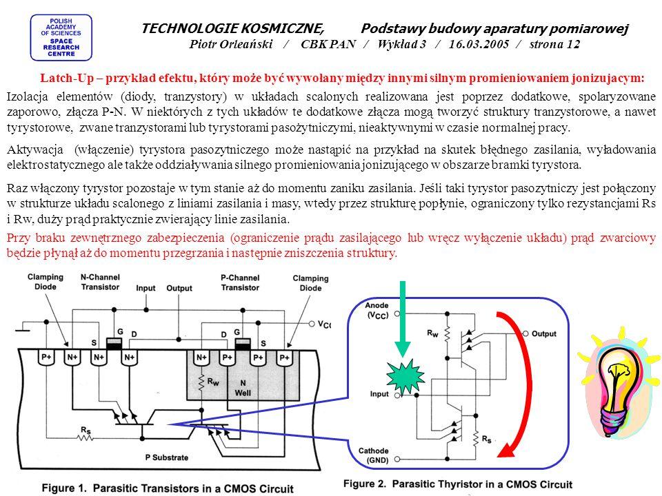 TECHNOLOGIE KOSMICZNE, Podstawy budowy aparatury pomiarowej Piotr Orleański / CBK PAN / Wykład 3 / 16.03.2005 / strona 12 Latch-Up – przykład efektu, który może być wywołany między innymi silnym promieniowaniem jonizujacym: Izolacja elementów (diody, tranzystory) w układach scalonych realizowana jest poprzez dodatkowe, spolaryzowane zaporowo, złącza P-N.