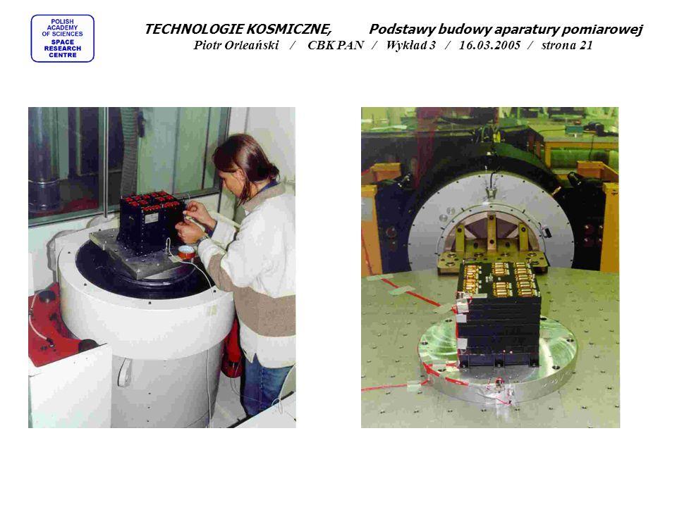 TECHNOLOGIE KOSMICZNE, Podstawy budowy aparatury pomiarowej Piotr Orleański / CBK PAN / Wykład 3 / 16.03.2005 / strona 21