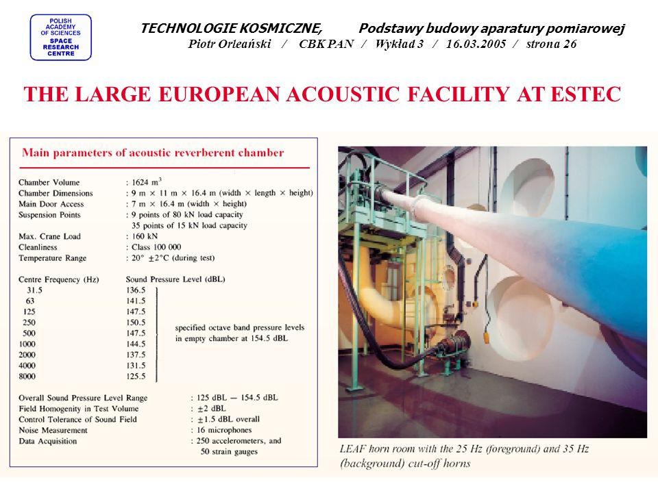 THE LARGE EUROPEAN ACOUSTIC FACILITY AT ESTEC TECHNOLOGIE KOSMICZNE, Podstawy budowy aparatury pomiarowej Piotr Orleański / CBK PAN / Wykład 3 / 16.03.2005 / strona 26