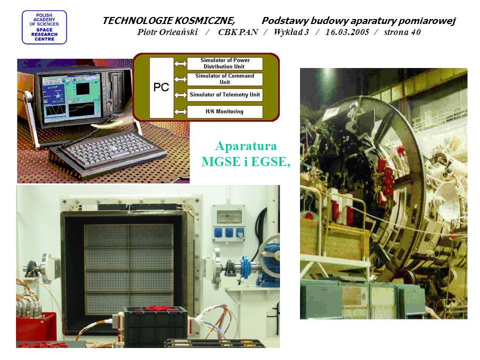 Aparatura MGSE i EGSE, TECHNOLOGIE KOSMICZNE, Podstawy budowy aparatury pomiarowej Piotr Orleański / CBK PAN / Wykład 3 / 16.03.2005 / strona 40