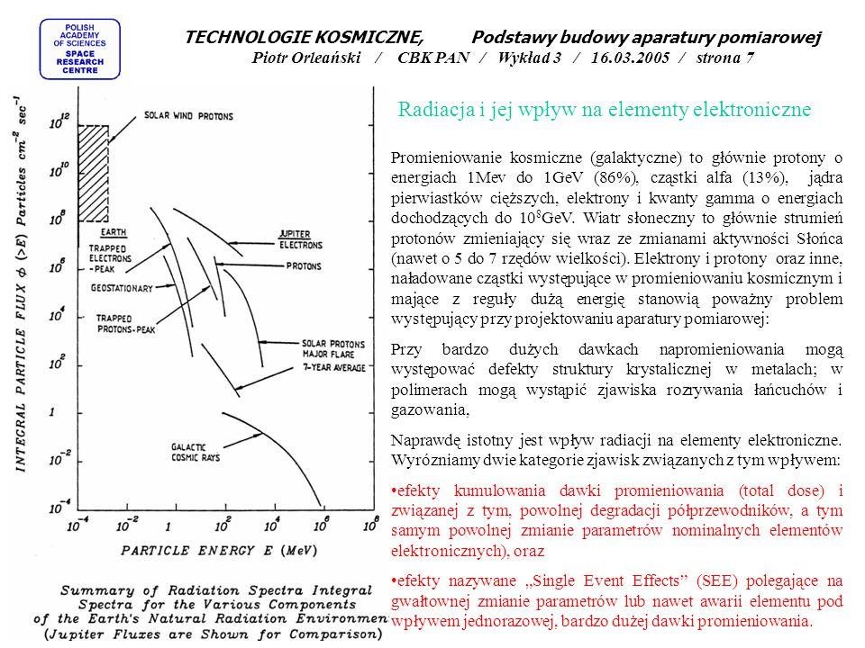 Promieniowanie kosmiczne (galaktyczne) to głównie protony o energiach 1Mev do 1GeV (86%), cząstki alfa (13%), jądra pierwiastków cięższych, elektrony i kwanty gamma o energiach dochodzących do 10 8 GeV.