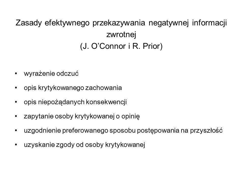 Zasady efektywnego przekazywania negatywnej informacji zwrotnej (J. O'Connor i R. Prior) wyrażenie odczuć opis krytykowanego zachowania opis niepożąda