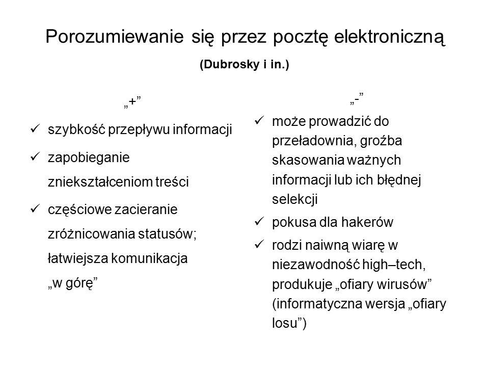 """Porozumiewanie się przez pocztę elektroniczną (Dubrosky i in.) """"+"""" szybkość przepływu informacji zapobieganie zniekształceniom treści częściowe zacier"""