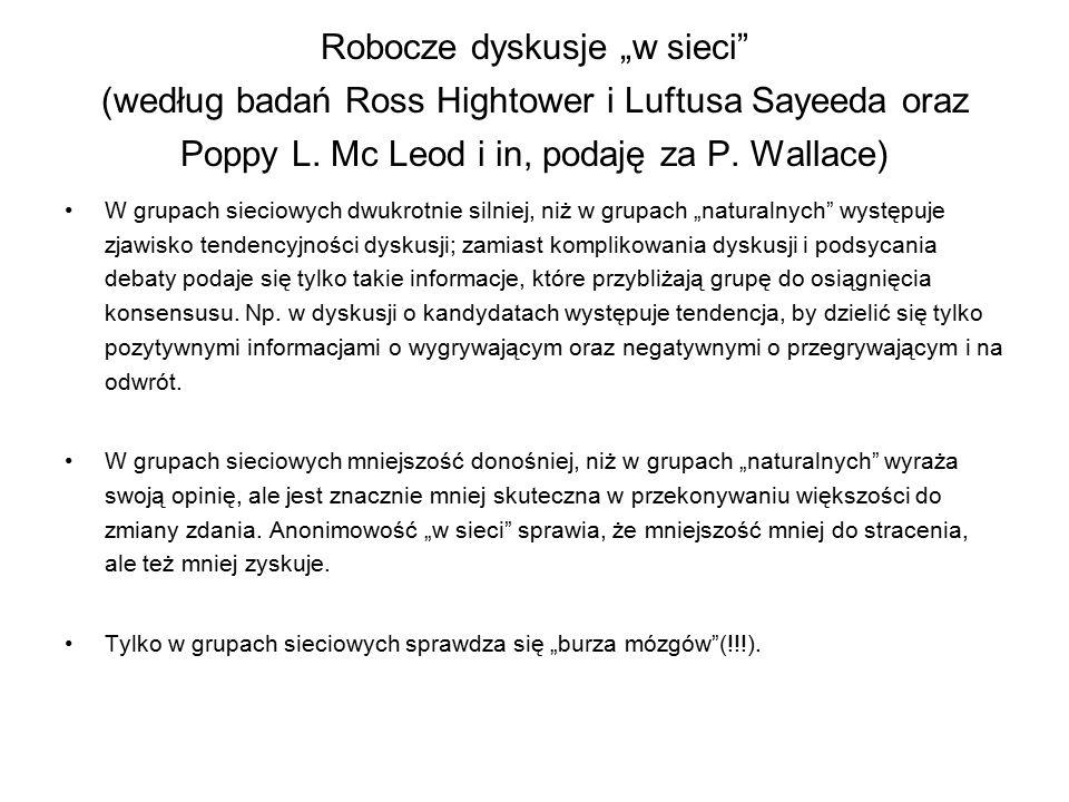 """Robocze dyskusje """"w sieci"""" (według badań Ross Hightower i Luftusa Sayeeda oraz Poppy L. Mc Leod i in, podaję za P. Wallace) W grupach sieciowych dwukr"""