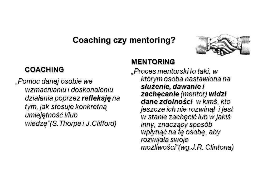 """Coaching czy mentoring? COACHING """"Pomoc danej osobie we wzmacnianiu i doskonaleniu działania poprzez refleksję na tym, jak stosuje konkretną umiejętno"""