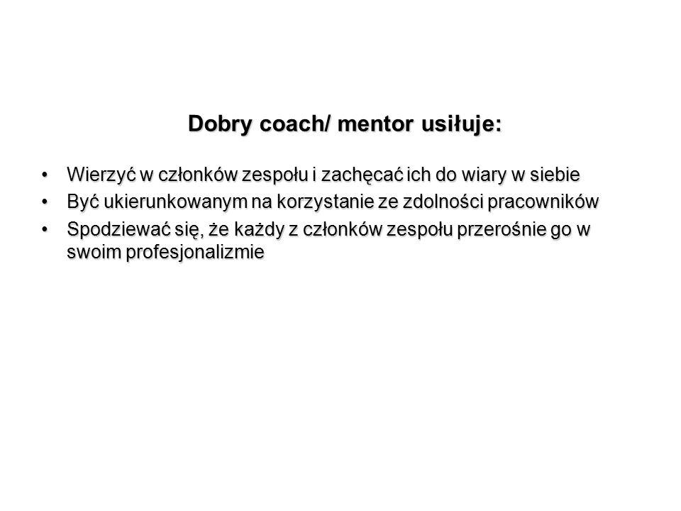 Dobry coach/ mentor usiłuje: Wierzyć w członków zespołu i zachęcać ich do wiary w siebieWierzyć w członków zespołu i zachęcać ich do wiary w siebie By