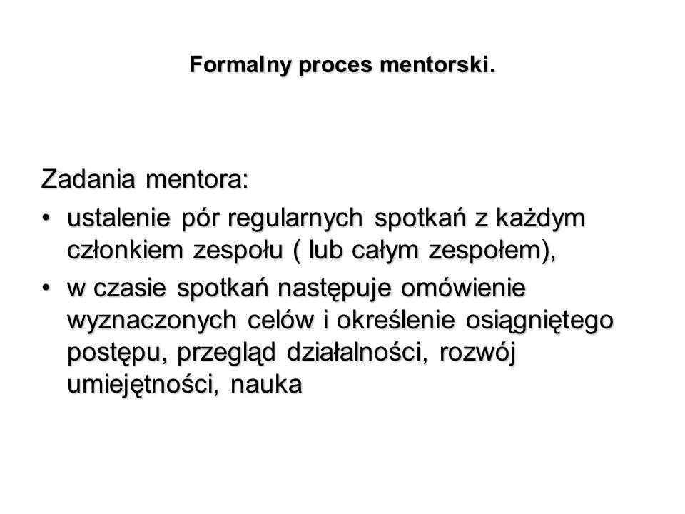 Formalny proces mentorski. Zadania mentora: ustalenie pór regularnych spotkań z każdym członkiem zespołu ( lub całym zespołem),ustalenie pór regularny