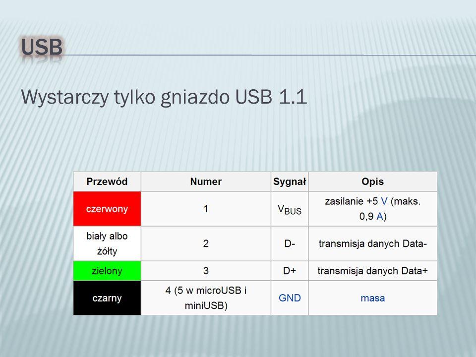 Wystarczy tylko gniazdo USB 1.1